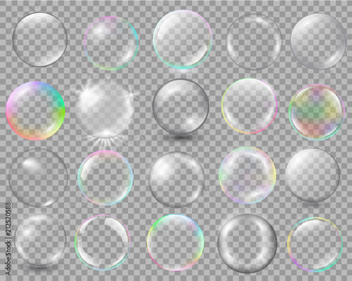 Foto Big set of different spheres with glares and highlights.