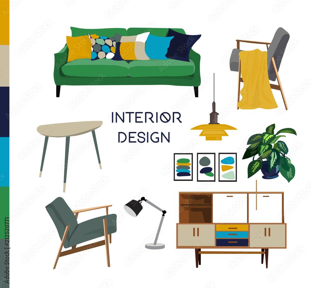Fototapeta vector mid century modern furniture. home house interior design. 1960s 1950s style.