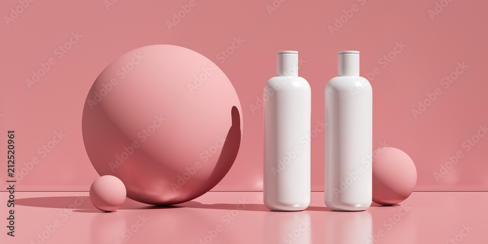 Fototapeta Design of natural cosmetic cream , serum, skincare blank bottle packaging. bio organic product. beauty and spa concept. Abstract background. 3d illustration