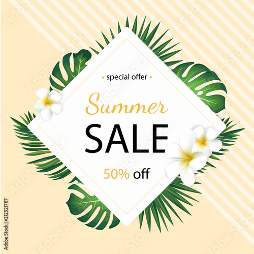 Summer sale background with tropical palm leaves and plumeria flower. Poster for print, party invitation, sale design. © Anastasiya