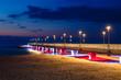 Concrete pier in Kolobrzeg, Poland. Long exposure shot at night