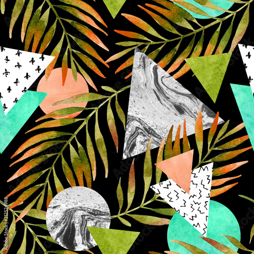 Staande foto Grafische Prints Triangles, circles with watercolor palm leaf, marble grunge textures.