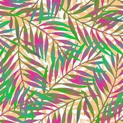 Fototapeta Botaniczne Hand painted tropical leaf in vivid rave colors on white backgound.
