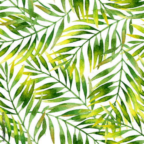 Photo sur Aluminium Empreintes Graphiques Simple watercolor palm leaves seamless pattern.