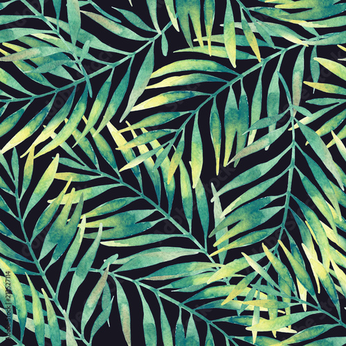 Deurstickers Grafische Prints Simple watercolor palm leaves seamless pattern.