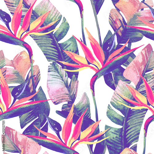 Spoed Foto op Canvas Paradijsvogel Exotic flowers, leaves in retro vanilla colors on pastel background.