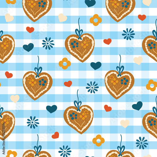 Fotografie, Obraz  Oktoberfest Lebkuchenherz Gingerbread heart seamless vector pattern on a blue and white checkered background with blue, red, and white hearts and flowers