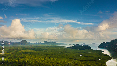Poster Beige landscape of Mountain in Krabi Thailand