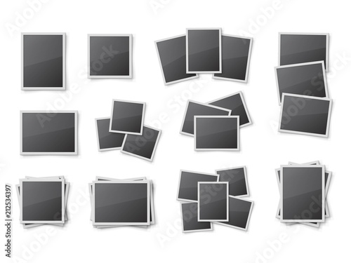Realistic blank snapshot frames set. Pile of photo frames isolated ...