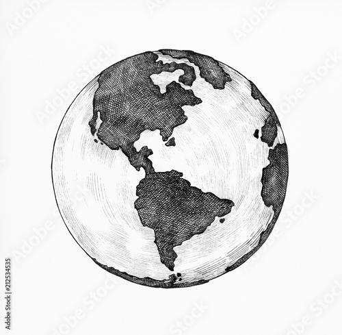 Hand-drawn globe illustration Wall mural