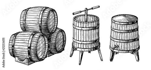 Wooden barrels and press. Vector sketch illustration Fotobehang