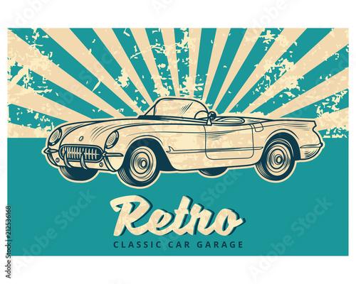blue grunge retro classic car garage vintage old school retro