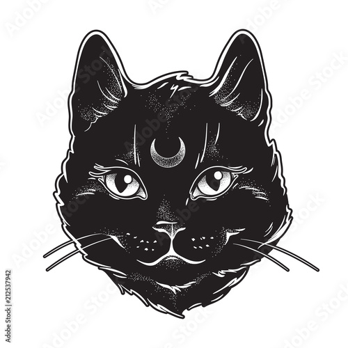Cute black cat with moon on his forehead line art and dot work Fototapete