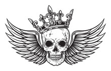 Human Skull With Wings And Crown For Tattoo Design. Vector Illustration