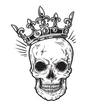 Human Skull With Crown For Tattoo Design. Vector Illustration