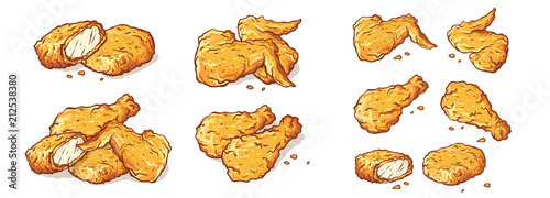 Fototapeta leg wings and nuggets Fried Chicken Isolated Set vector illustration obraz