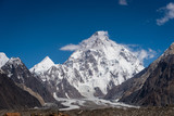 Fototapeta Natura - K2 mountain peak, second highest mountain peak in the world, K2 base camp trekking route in Karakoram mountains range, Pakistan, Asia
