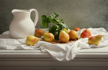 Still Life With Fresh Pears On...