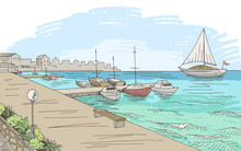 Seafront Pier Graphic Yacht Color Seascape Sketch Illustration Vector