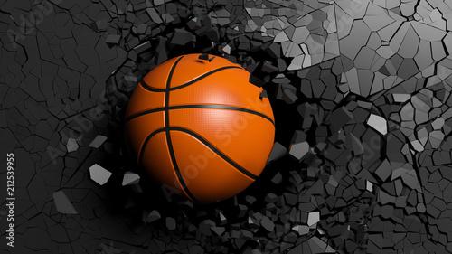 Piłka do koszykówki łamie siłą przez czarną ścianę. 3d ilustracja.