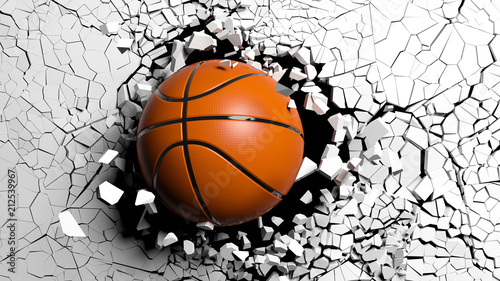 Basketball ball breaking forcibly through a white wall. 3d illustration.