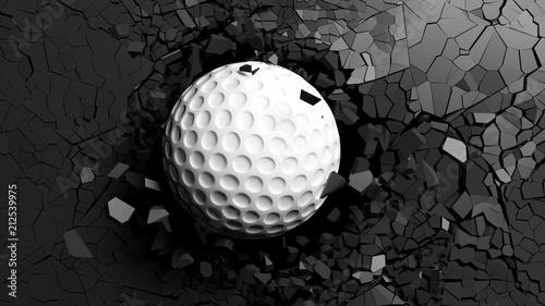 Cuadros en Lienzo Golf ball breaking forcibly through a black wall