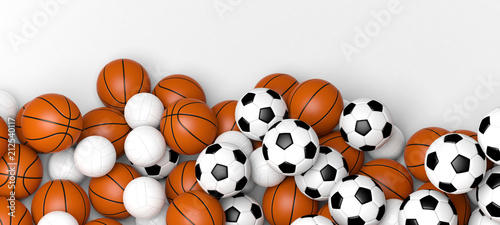 Basketball, volleyball and soccer balls on a white wall banner with blank space. 3d illustration.