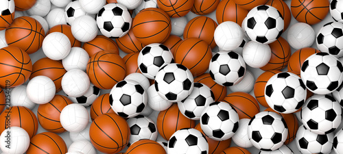 Sports concept. Basketball, volleyball and soccer balls, banner. 3d illustration.