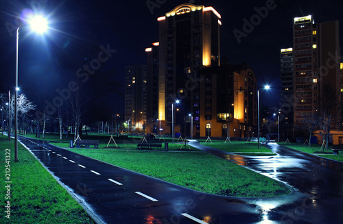 Landscape of  a big city at night with lights and high-rise buildings. Moscow, Russia, Rostokino district