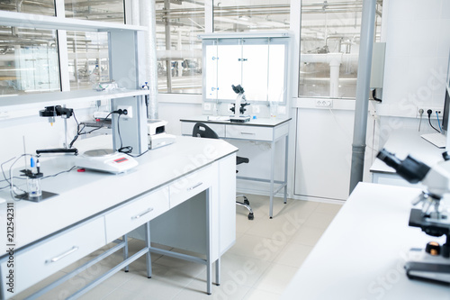 Interior of modern science laboratory with no people, copy space