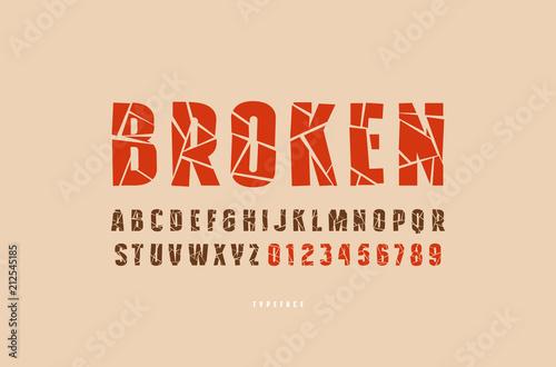 Fotografía  Decorative sans serif font with broken face