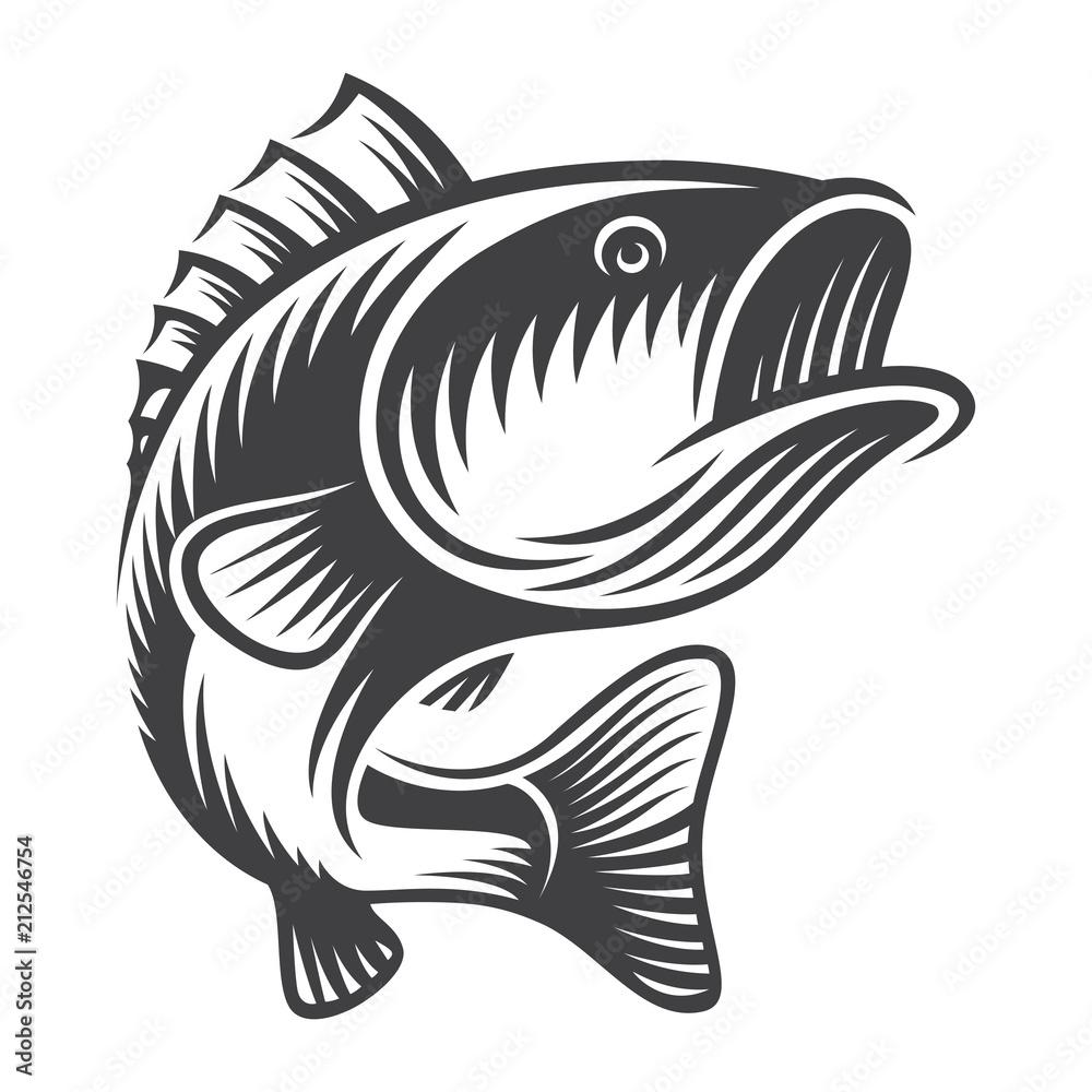 Fototapeta Vintage bass fish concept