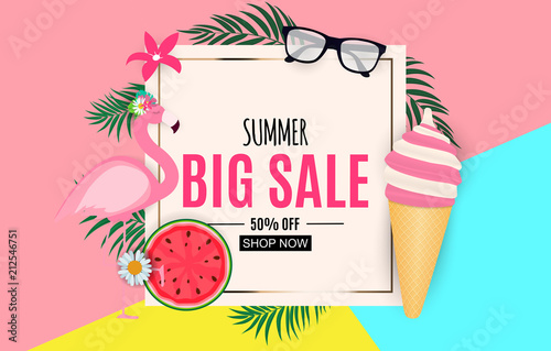 Abstract Summer Sale Background with Palm Leaves and Flamingo. Vector Illustration © yganko