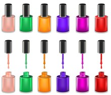 Set Of Realistic Opened Nail Polish Bottles With Paint Splashes In Different Colors And Closed Nail Polish Bottles. Mesh Gradient Objects. Nail Care Salon Symbols. Vector Illustration