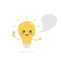 Cute Vector Cartoon Shining Light Bulb, Lamp Character With Empty Speech Bubble And Bulb In Hand. Concept Of Electricity Knowledge And Advices For Kids And Adults.