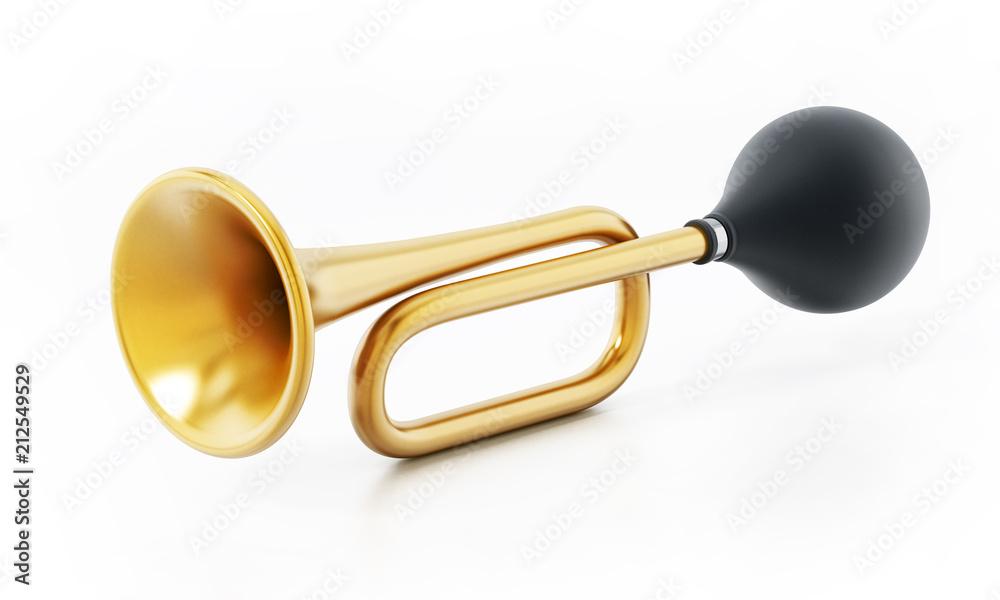 Fototapeta Bicycle horn isolated on white background. 3D illustration