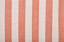 Gray And Brown Stripes. Striped Brown And Grey Textile Pattern As A Background. Close Up On Vertical Stripes Material Texture Fabric. Linen Cloth