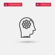 Outline Brain Icon isolated on grey background. Modern simple flat symbol for web site design, logo, app, UI. Editable stroke. Vector illustration. Eps10