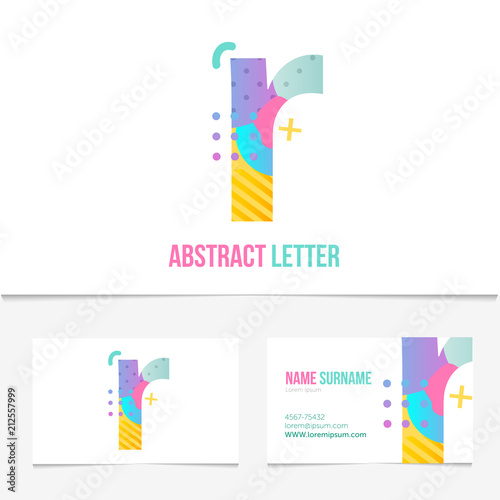 creative abstract letter r design vector template on the business card template abstract colorful alphabet