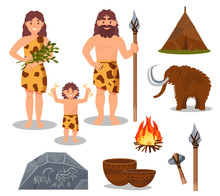 Stone Age Symbols Set, Primitive People, Mammoth, Weapon, Prehistoric House Vector Illustrations On A White Background