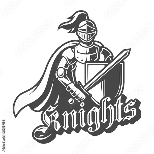 Photo  Monochrome brave knight label