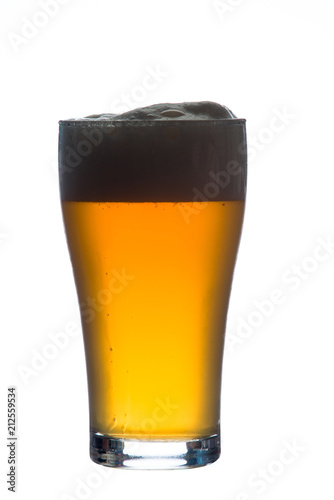 Staande foto Alcohol craft beer glass on white background