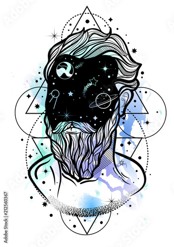 Tableau sur Toile Hand drawn portrait of a man with beard and night sky