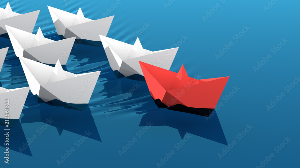 Fototapeta Leadership concept, red leader boat leading whites. 3D Rendering