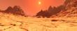 canvas print picture - 3D Rendering Planet Mars Lanscape