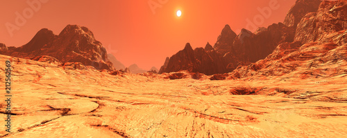 Photo sur Toile Orange eclat 3D Rendering Planet Mars Lanscape