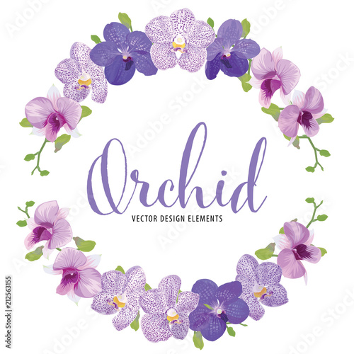 Cuadros en Lienzo Floral frame with tropical orchid flowers on white background template