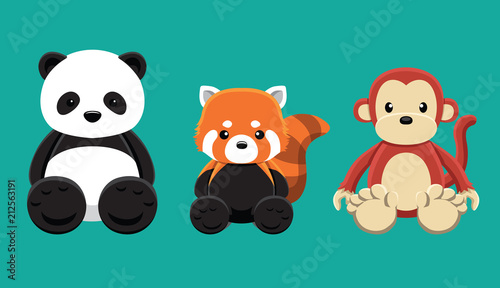 Fototapeta premium Panda Red Panda Monkey Doll zestaw ilustracji wektorowych kreskówki