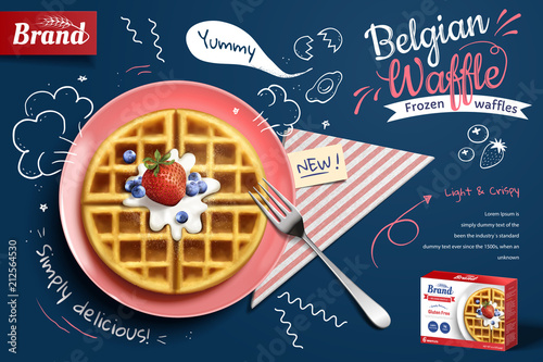 Fotografía  Belgian waffle ads with fruit
