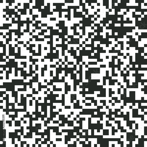 Fotografie, Obraz  QR Code Digital Abstract Black and White Pixel Noise Background